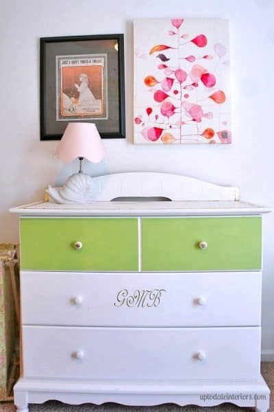 gold leaf dresser with a monogram and pop of color for an easy update!