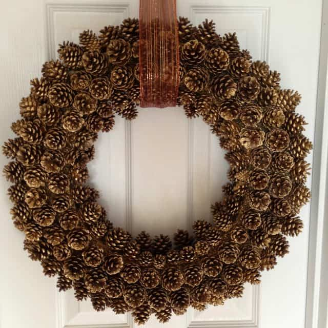 diy gold pinecone wreath