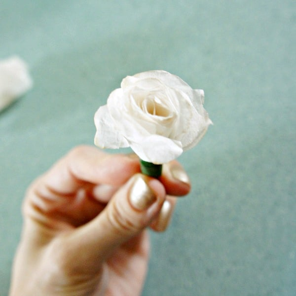 DIY paper roses with coffee filters example of rose bud