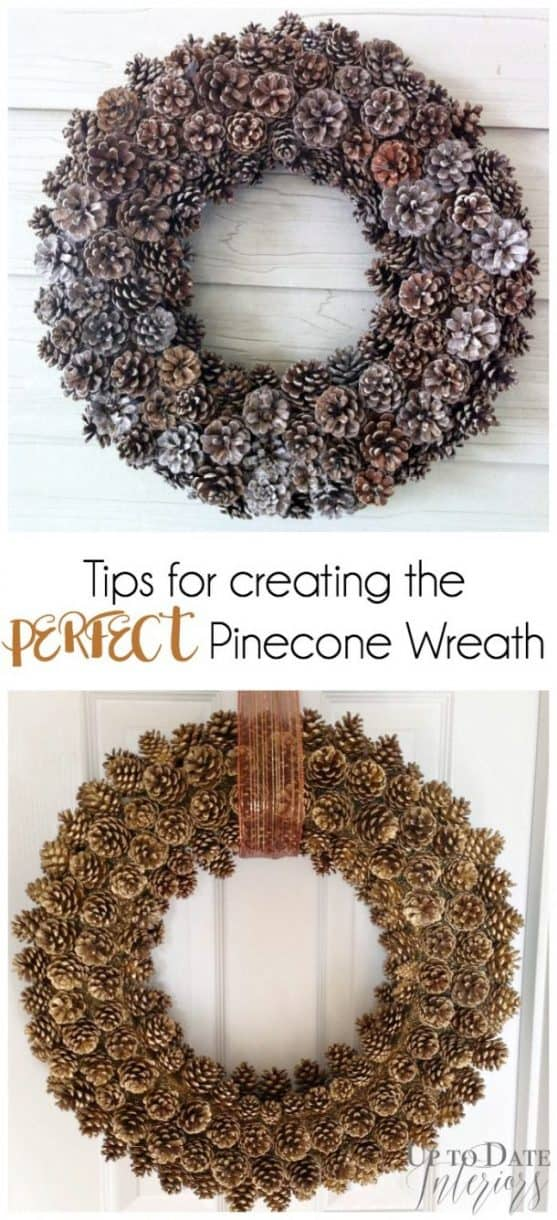 how to make a pinecone wreath with a foam base. Gold and natural easy pinecone wreath ideas.