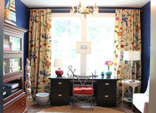 home-office-makeover-anthropologie-curtains-navy-wall-black-desk