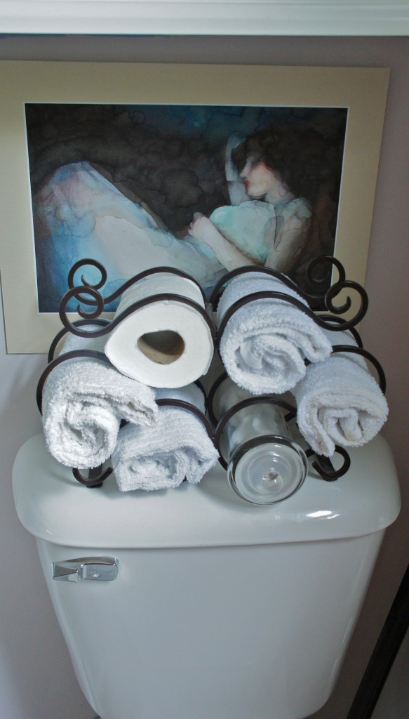 wine rack towel storage