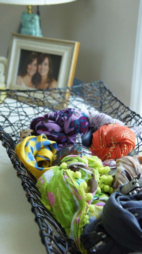 basket for scarf storage