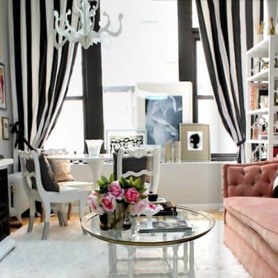 stylish-delightful-living-room-gray-black-white-pink-feminine-striped-drapes