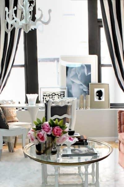 stylish-delightful-living-room-gray-black-white-pink-feminine-striped-drapes