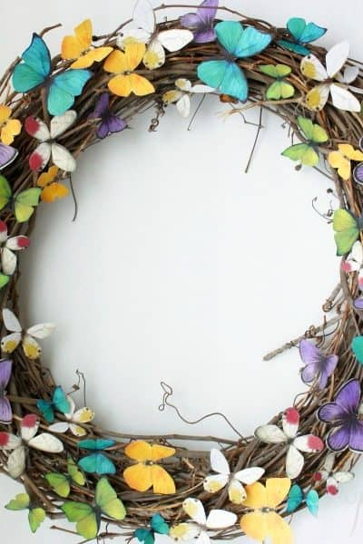 easy DIY spring butterfly wreath