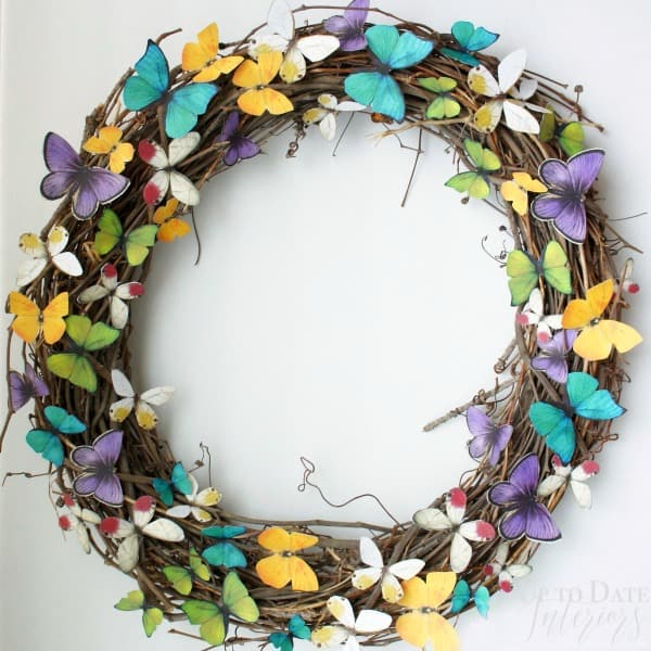 easy DIY spring butterfly wreath for eclectic decor
