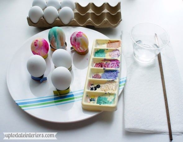 watercolor easter eggs and egg cups