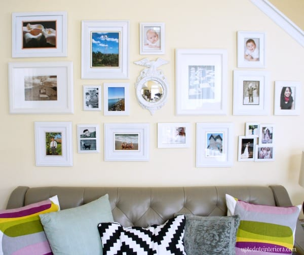 diy gallery wall with white frames