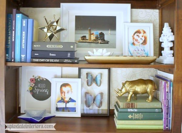 colorful eclectic bookshelf