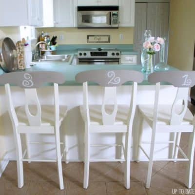 chalk paint bar stools with numbers