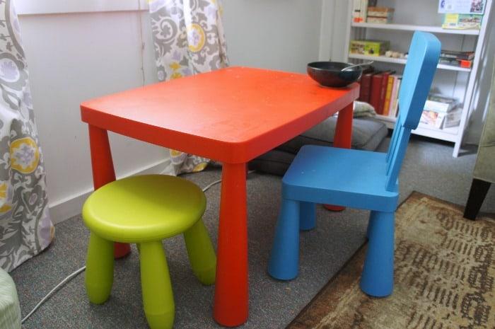 ikea kids table transformation
