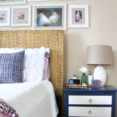 update your bedside table with paint and new pulls