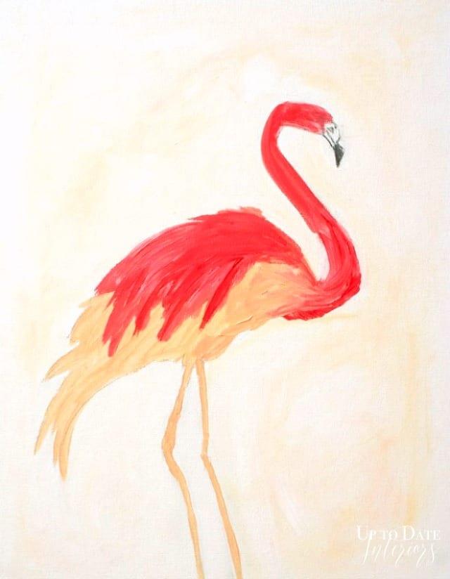 flamingo acrylic painting on canvas