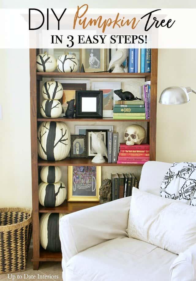 diy pumpkin tree on bookcase