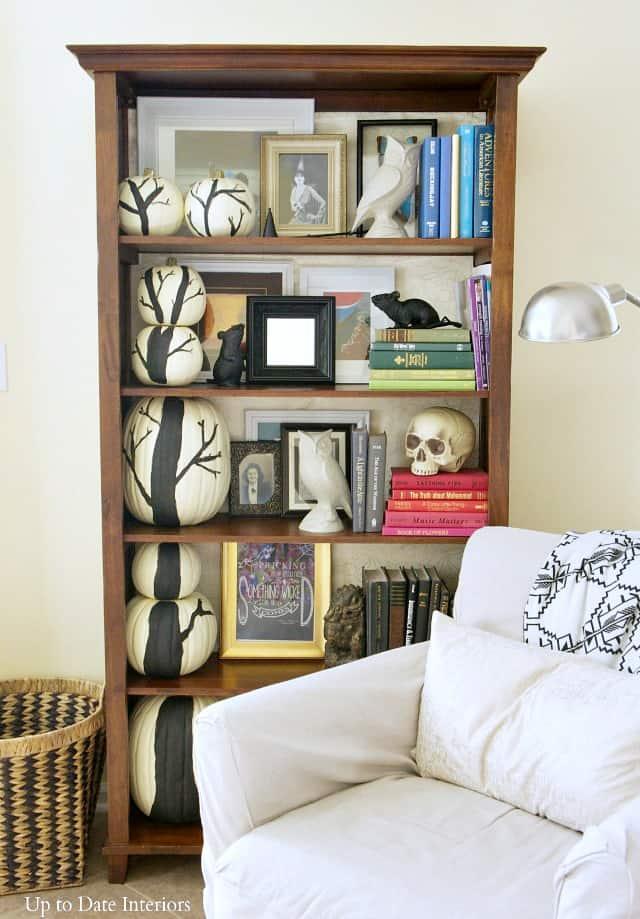 pumpkin tree on halloween bookcase