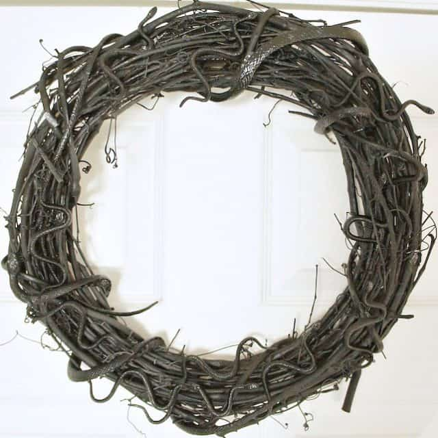 quick and easy black dollar store snake wreath
