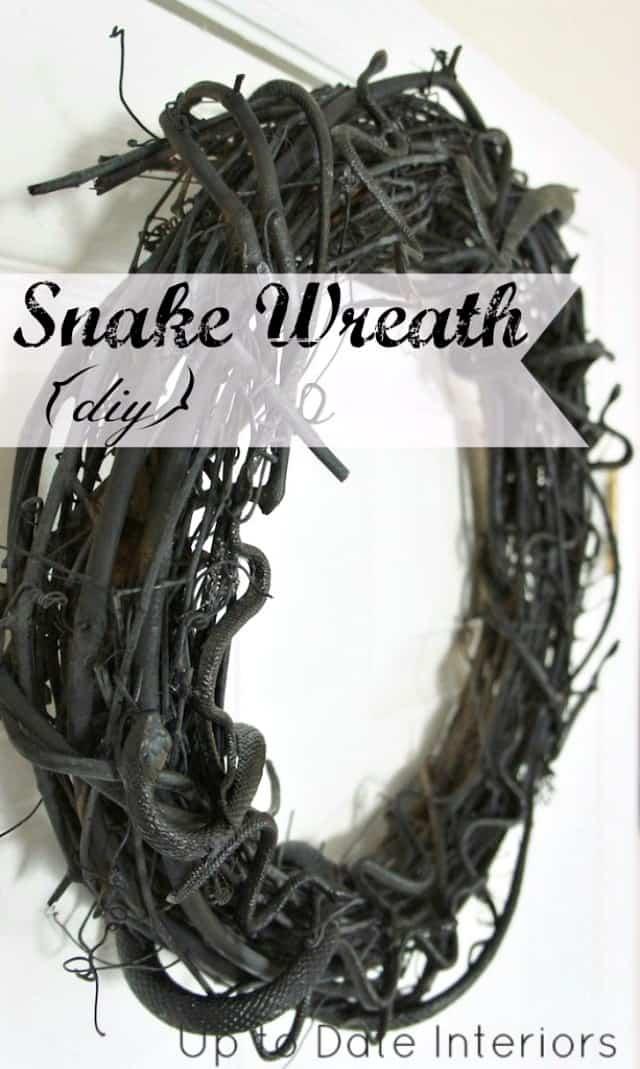 halloween DIY wreath with dollar store snakes
