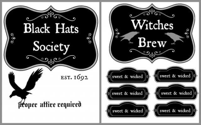 witches tea party free printables
