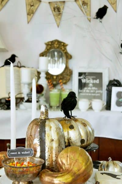 witches tea party table centerpiece