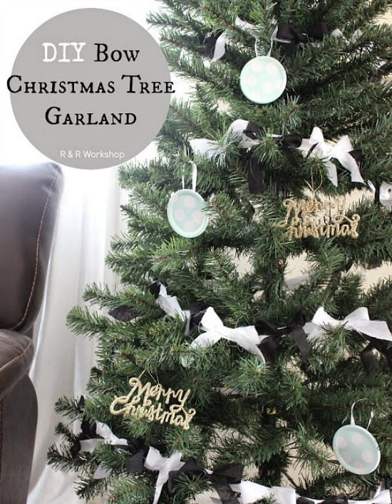 diy bow christmas tree garland