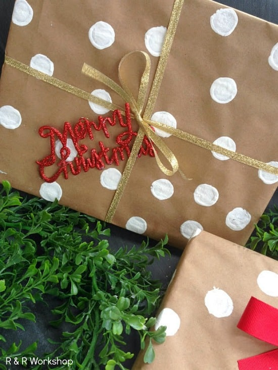 diy polka dot gift wrap