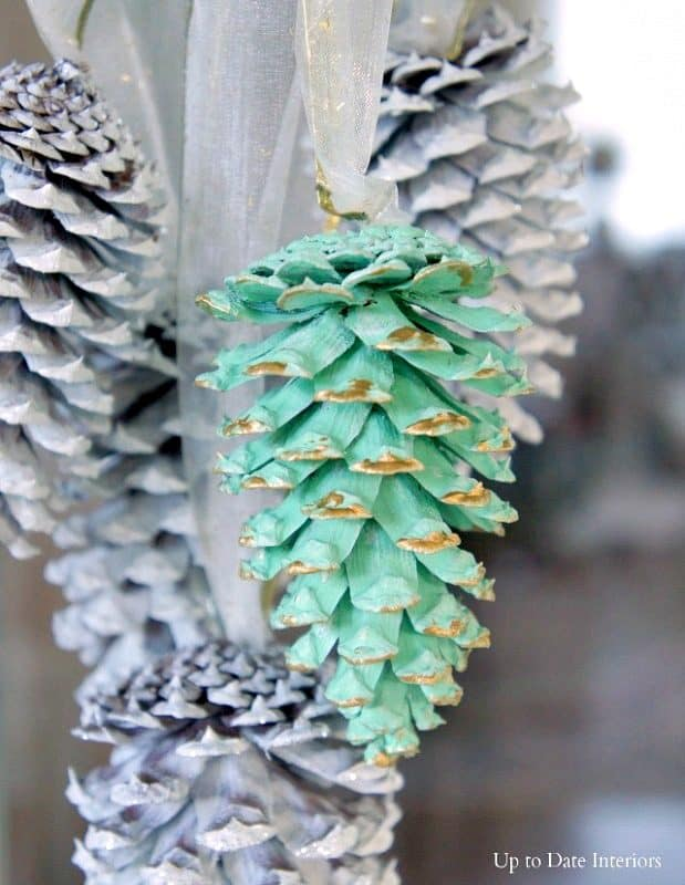 mint green and white pinecones