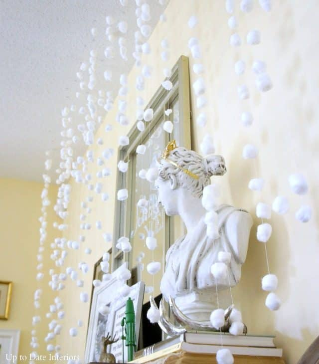 diy snow wall with cotton