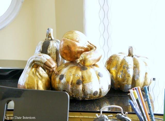 diy gold gilded pumpkins