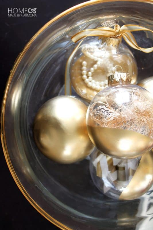 Bowl of gold dipped ornaments