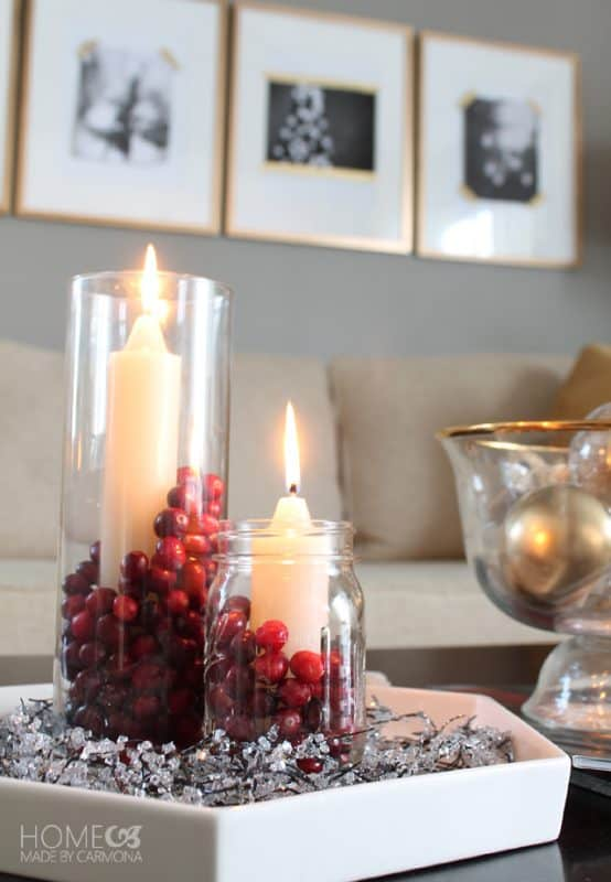 Cranberry candle centerpiece
