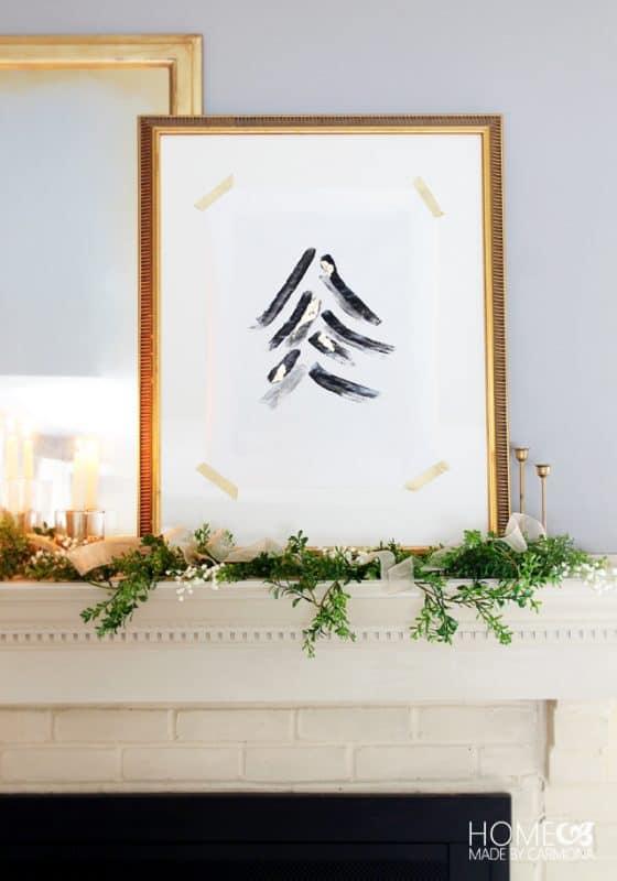 Fireplace Christmas tree art