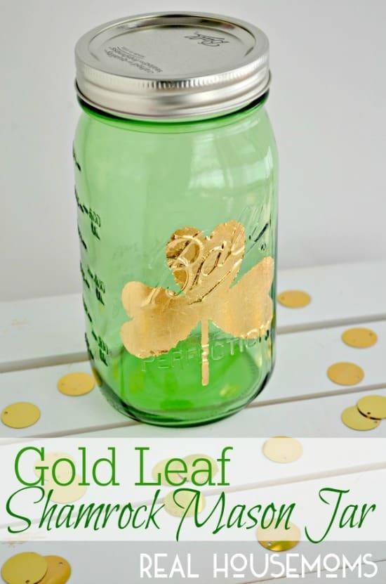 Gold-Leaf-Shamrock-Mason-Jar-for-St.-Patricks-Day
