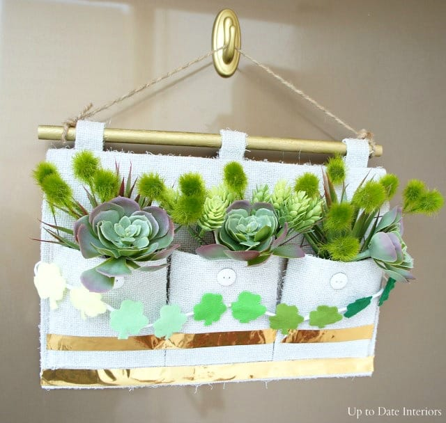 faux succulent and shamrock wall hanging planter