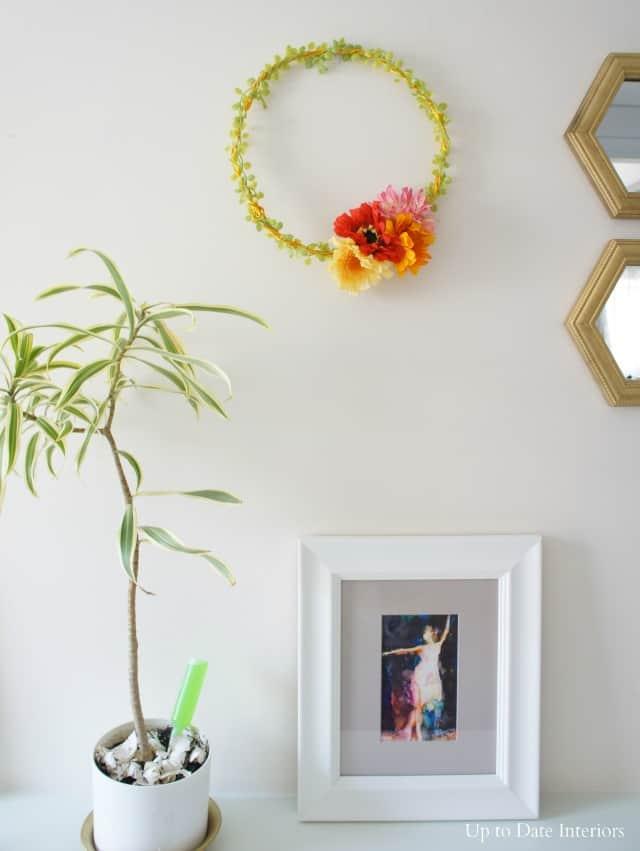 Spring zinnia wreath in the foyer