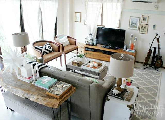 Living Room Birds Eye of a Rental Home With Decorating Hacks