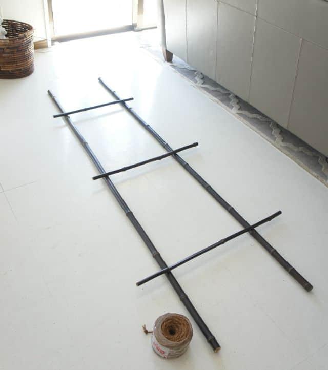 blanket ladder layout on floor for assembly