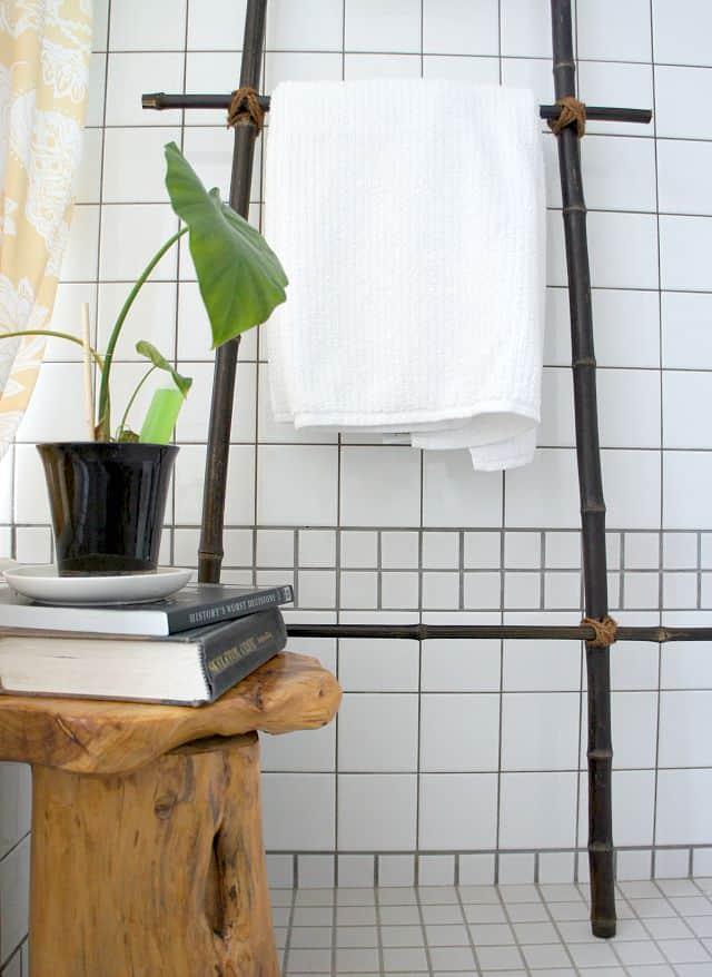 DIY bamboo ladder in a Japanese bathroom