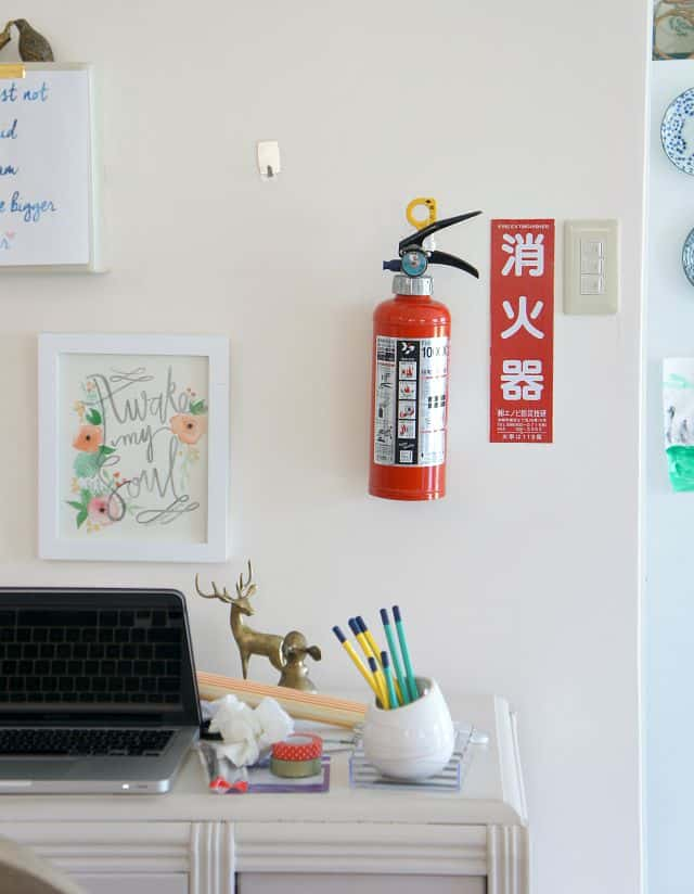 renter friendly office wall with fire extinguisher and other eye sores solutions