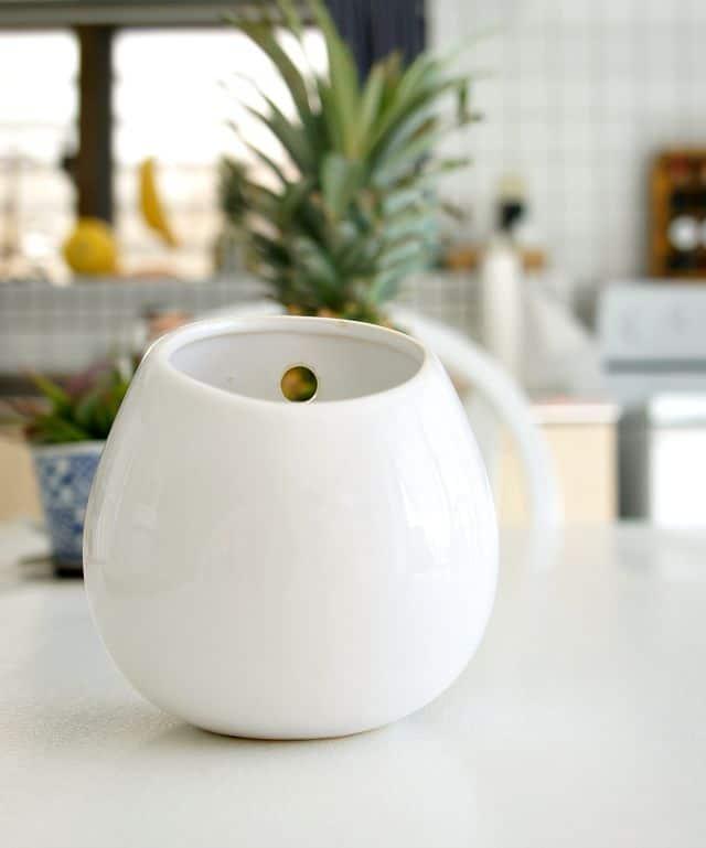 close up of ceramic planter hanger