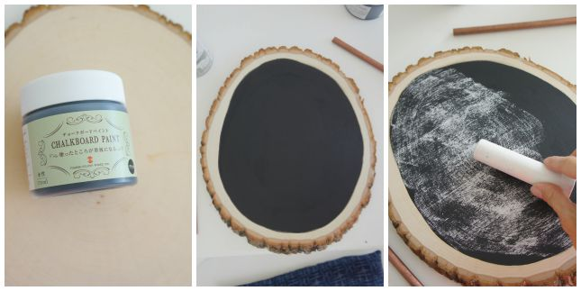 wood slice into chalkboard