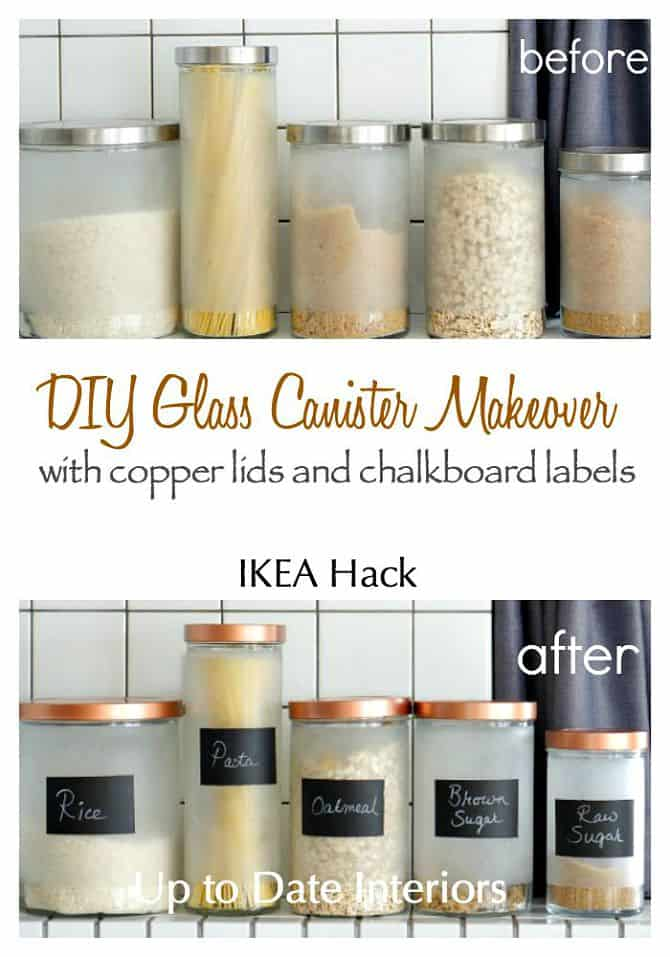 Update Ikea Canisters with copper spray paint and chalk paint to add some glam!