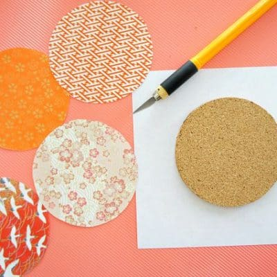 easy cork coasters with oragami paper