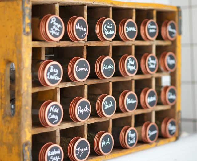 chalkboard and copper seasoning jars