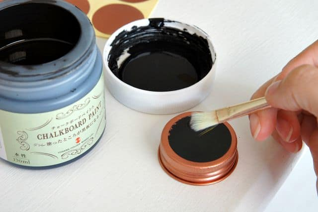 chalkboard and copper seasoning jars