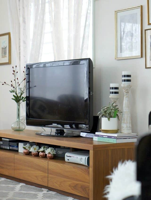 modern tv stand in bright living room