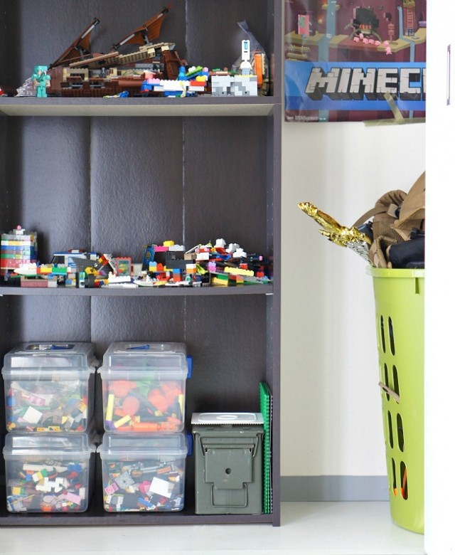 Use a bookshelf for lego storage and creations.