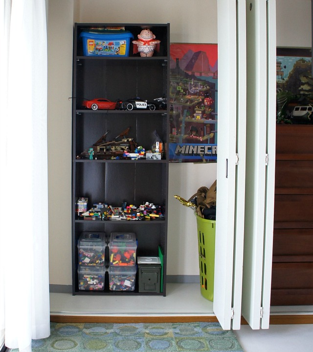 bookshelf adds needed storage in the closet