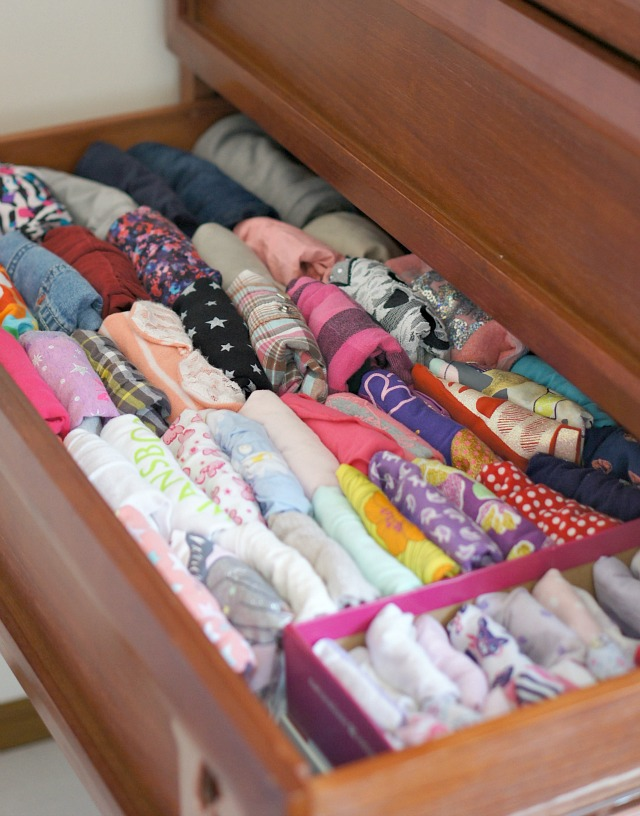 declutter kids rooms and fold clothes according to Marie Kondo.