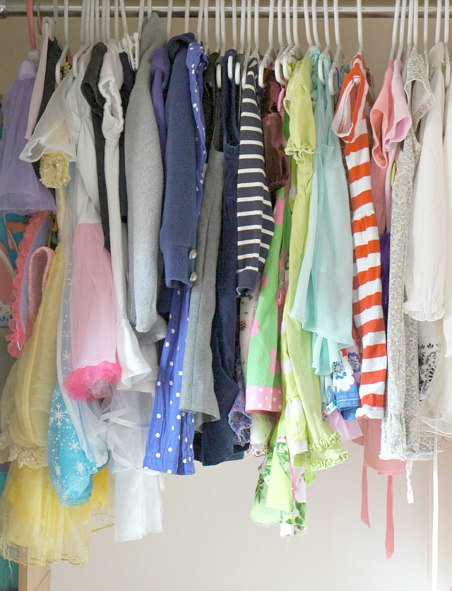 Declutter kids rooms and keep clothes neatly hung.